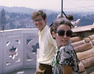 Susan and I atop the bell tower in Florence. It was a pose that mimicked a Giotto painting we had seen in Assisi, I think.