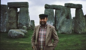Owen in front of the stones of Stonehenge.