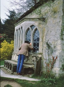 "One of Owen's favorite things to do is look in windows, here at the Stourhead ""chapel"", one of the features of the garden."