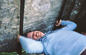 Kissing the Blarney Stone (a lot of hooey, of course, since I can't speak any better)