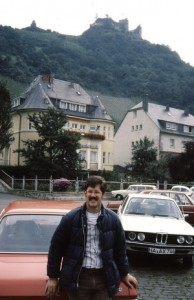 In Cochem in front of our little red Ford.