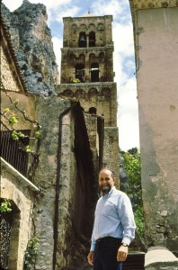 Owen poses in Moustiers St. Marie, which looks very different in 2012. Well, all of France does.